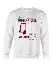INDIANA GIRL LIVING IN MISSISSIPPI WORLD Crewneck Sweatshirt thumbnail