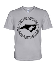 WEST VIRGINIA GIRL LIVING IN NORTH CAROLINA WORLD V-Neck T-Shirt thumbnail