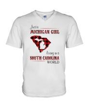 MICHIGAN GIRL LIVING IN SOUTH CAROLINA WORLD V-Neck T-Shirt thumbnail