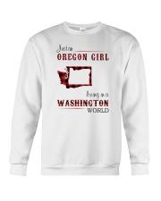 OREGON GIRL LIVING IN WASHINGTON WORLD Crewneck Sweatshirt thumbnail
