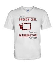 OREGON GIRL LIVING IN WASHINGTON WORLD V-Neck T-Shirt thumbnail