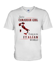 CANADIAN GIRL LIVING IN ITALIAN WORLD V-Neck T-Shirt thumbnail