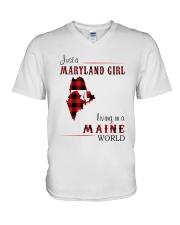 MARYLAND GIRL LIVING IN MAINE WORLD V-Neck T-Shirt thumbnail