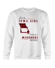 IOWA GIRL LIVING IN MISSOURI WORLD Crewneck Sweatshirt thumbnail