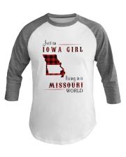 IOWA GIRL LIVING IN MISSOURI WORLD Baseball Tee thumbnail