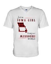 IOWA GIRL LIVING IN MISSOURI WORLD V-Neck T-Shirt thumbnail