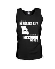 JUST A NEBRASKA GUY LIVING IN MISSOURI WORLD Unisex Tank thumbnail