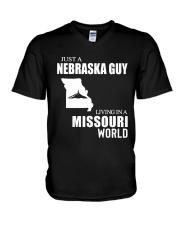 JUST A NEBRASKA GUY LIVING IN MISSOURI WORLD V-Neck T-Shirt thumbnail