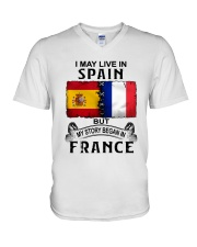 LIVE IN SPAIN BEGAN IN FRANCE V-Neck T-Shirt thumbnail