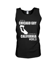 JUST A CHICAGO GUY LIVING IN CALIFORNIA WORLD Unisex Tank thumbnail