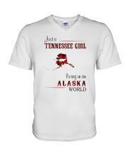 TENNESSEE GIRL LIVING IN ALASKA WORLD V-Neck T-Shirt thumbnail