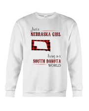 NEBRASKA GIRL LIVING IN SOUTH DAKOTA WORLD Crewneck Sweatshirt thumbnail