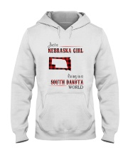 NEBRASKA GIRL LIVING IN SOUTH DAKOTA WORLD Hooded Sweatshirt thumbnail