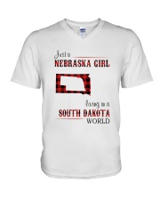 NEBRASKA GIRL LIVING IN SOUTH DAKOTA WORLD V-Neck T-Shirt thumbnail