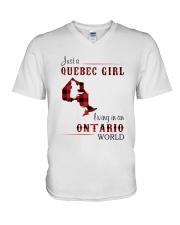 QUEBEC GIRL LIVING IN ONTARIO WORLD V-Neck T-Shirt thumbnail