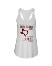 SOUTH CAROLINA GIRL LIVING IN TEXAS WORLD Ladies Flowy Tank tile