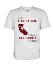 FLORIDA GIRL LIVING IN CALIFORNIA WORLD V-Neck T-Shirt thumbnail