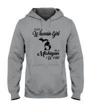 JUST A WISCONSIN GIRL IN A MICHIGAN WORLD Hooded Sweatshirt tile