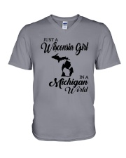 JUST A WISCONSIN GIRL IN A MICHIGAN WORLD V-Neck T-Shirt thumbnail