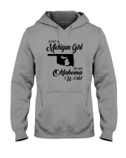 JUST A MICHIGAN GIRL IN AN OKLAHOMA WORLD Hooded Sweatshirt tile