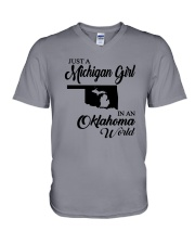 JUST A MICHIGAN GIRL IN AN OKLAHOMA WORLD V-Neck T-Shirt tile