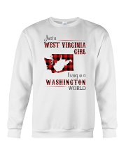 WEST VIRGINIA GIRL LIVING IN WASHINGTON WORLD Crewneck Sweatshirt thumbnail