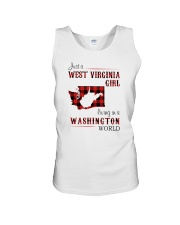 WEST VIRGINIA GIRL LIVING IN WASHINGTON WORLD Unisex Tank thumbnail