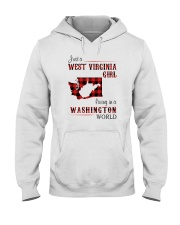 WEST VIRGINIA GIRL LIVING IN WASHINGTON WORLD Hooded Sweatshirt thumbnail