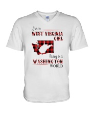 WEST VIRGINIA GIRL LIVING IN WASHINGTON WORLD V-Neck T-Shirt thumbnail