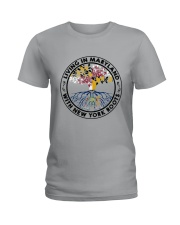 LIVING IN MARYLAND WITH NEW YORK ROOTS Ladies T-Shirt front