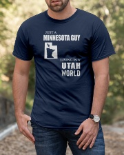 JUST A MINNESOTA GUY LIVING IN UTAH WORLD Classic T-Shirt apparel-classic-tshirt-lifestyle-front-53
