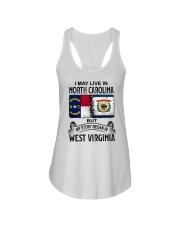 LIVE IN NORTH CAROLINA BEGAN IN WEST VIRGINIA Ladies Flowy Tank thumbnail