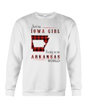 IOWA GIRL LIVING IN ARKANSAS WORLD Crewneck Sweatshirt thumbnail