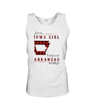 IOWA GIRL LIVING IN ARKANSAS WORLD Unisex Tank thumbnail