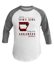 IOWA GIRL LIVING IN ARKANSAS WORLD Baseball Tee thumbnail