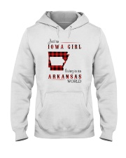 IOWA GIRL LIVING IN ARKANSAS WORLD Hooded Sweatshirt thumbnail