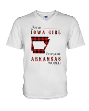 IOWA GIRL LIVING IN ARKANSAS WORLD V-Neck T-Shirt thumbnail