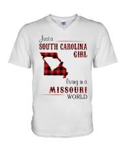 SOUTH CAROLINA GIRL LIVING IN MISSOURI WORLD V-Neck T-Shirt thumbnail