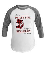 PHILLY GIRL LIVING IN NEW JERSEY WORLD Baseball Tee thumbnail