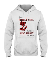 PHILLY GIRL LIVING IN NEW JERSEY WORLD Hooded Sweatshirt thumbnail