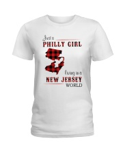 PHILLY GIRL LIVING IN NEW JERSEY WORLD Ladies T-Shirt thumbnail