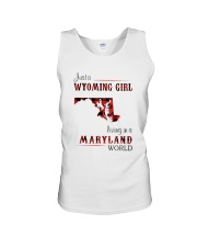 WYOMING GIRL LIVING IN MARYLAND WORLD Unisex Tank thumbnail