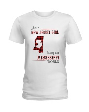 JERSEY GIRL LIVING IN MISSISSIPPI WORLD Ladies T-Shirt thumbnail