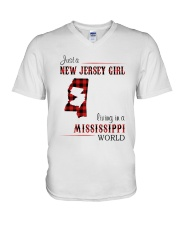 JERSEY GIRL LIVING IN MISSISSIPPI WORLD V-Neck T-Shirt thumbnail