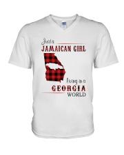 JAMAICAN GIRL LIVING IN GEORGIA WORLD V-Neck T-Shirt thumbnail