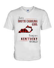 SOUTH CAROLINA GIRL LIVING IN KENTUCKY WORLD V-Neck T-Shirt thumbnail