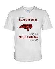 HAWAII GIRL LIVING IN NORTH CAROLINA WORLD V-Neck T-Shirt thumbnail