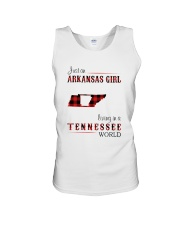 ARKANSAS GIRL LIVING IN TENNESSEE WORLD Unisex Tank thumbnail