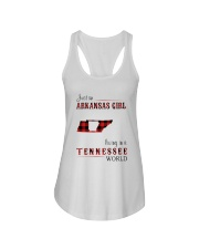 ARKANSAS GIRL LIVING IN TENNESSEE WORLD Ladies Flowy Tank thumbnail