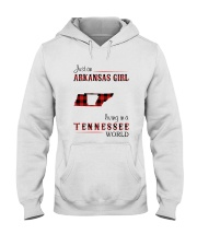 ARKANSAS GIRL LIVING IN TENNESSEE WORLD Hooded Sweatshirt thumbnail
